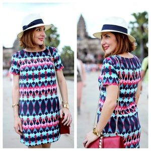 J. Crew | Bright Tribal Geometric Shift Dress